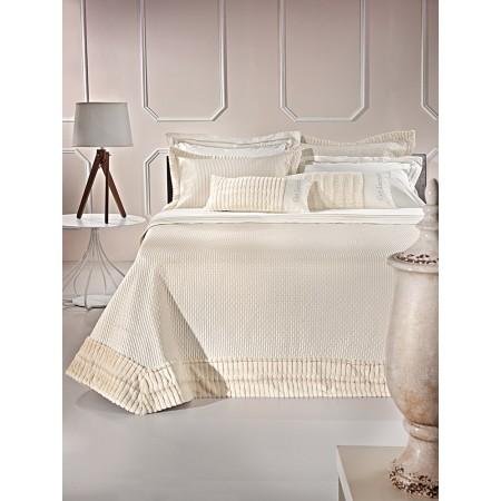 Σετ κουβρ-λί 3 τεμαχίων imperia satin polyester με γούνα sand